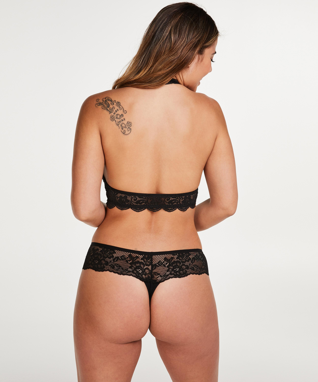 Halter Lace Bralette, Black, main