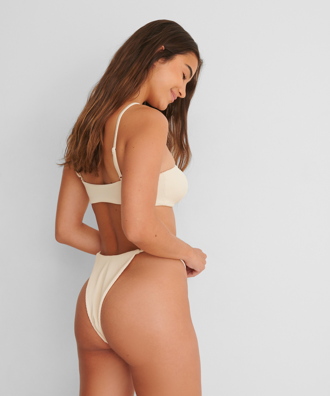 High-cut bikini bottoms Texture HKM x NA-KD, White, main