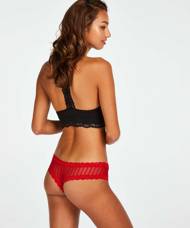 V-shaped Brazilian knickers mesh, Red, main