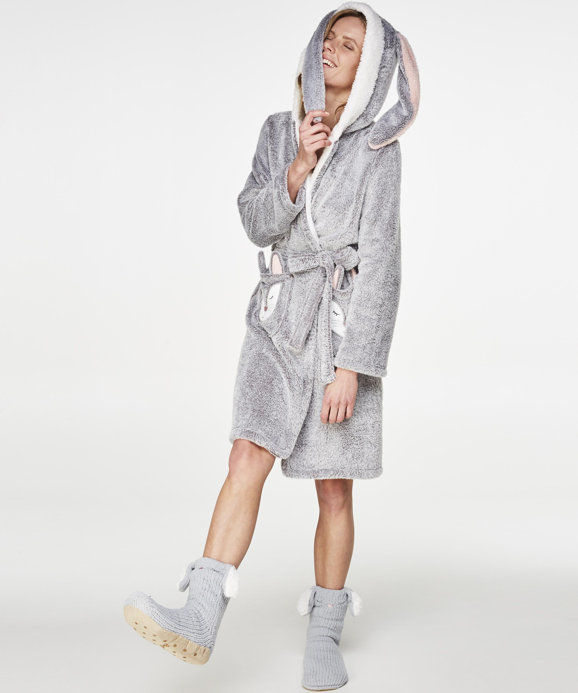 Fleece Bathrobe, Grey, main