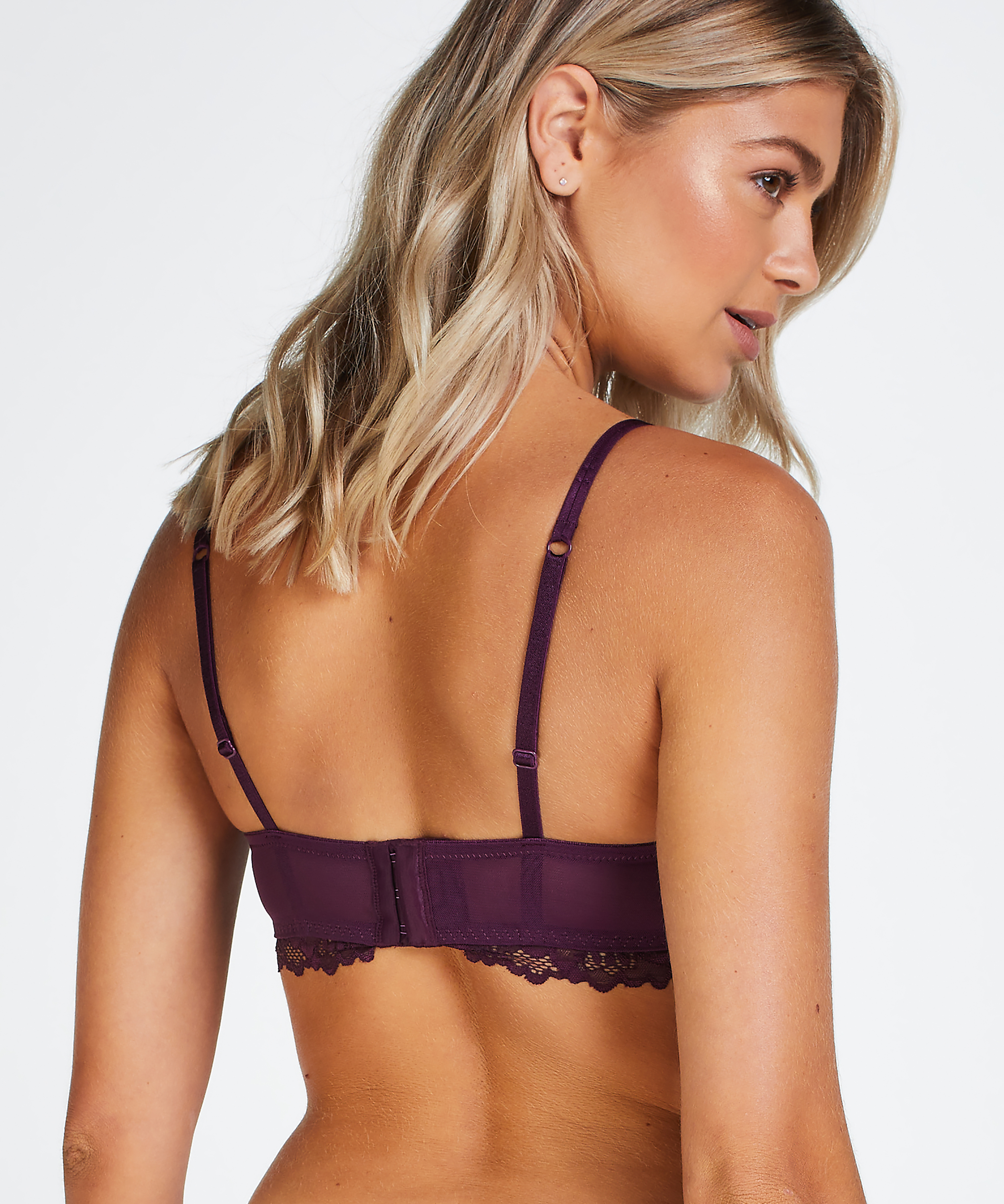 Yvonne padded non-underwired bra, Purple, main