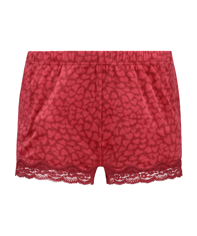 Velvet lace shorts, Red, main