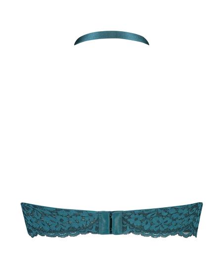 Rose Padded Halter Bralette, Blue