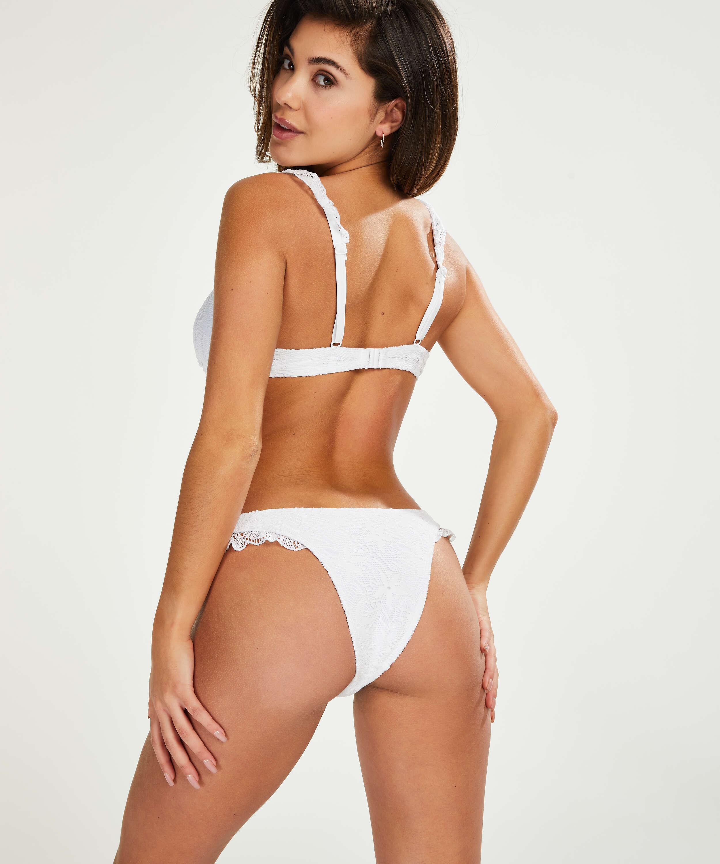 Etta Crochet high leg bikini bottom, White, main