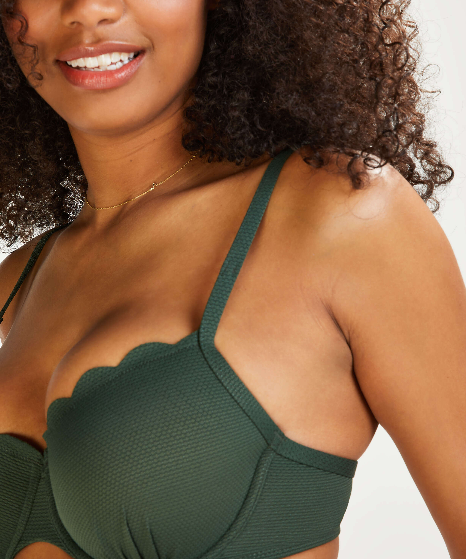 Scallop Glam Padded Underwired Bikini Top, Green, main