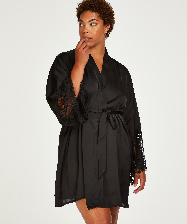 Lace Satin Kimono, Black, main