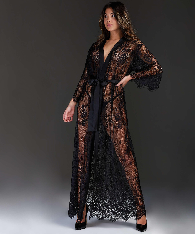 Long Allover Lace Kimono , Black, main