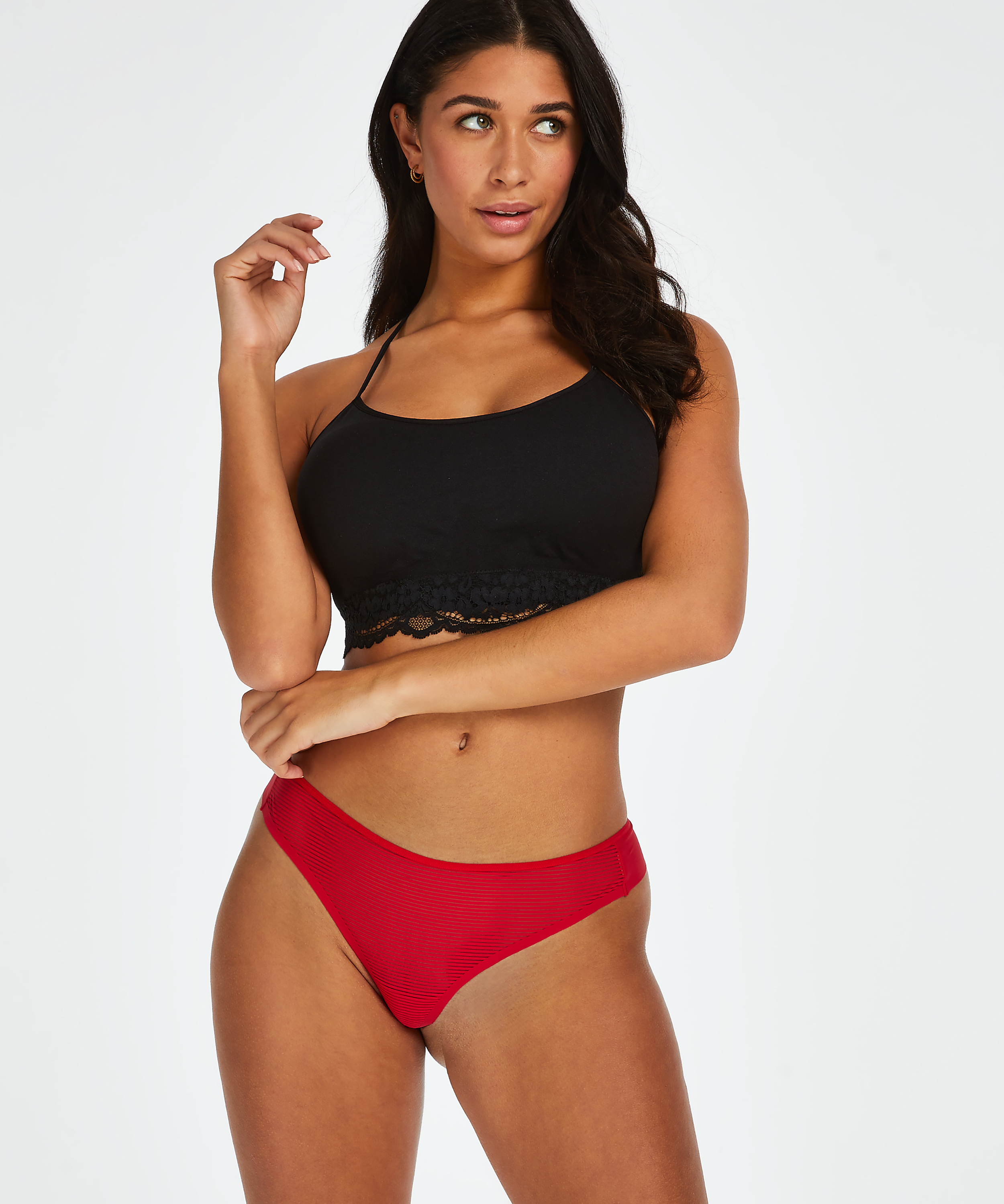 Invisible thong Stripe mesh , Red, main