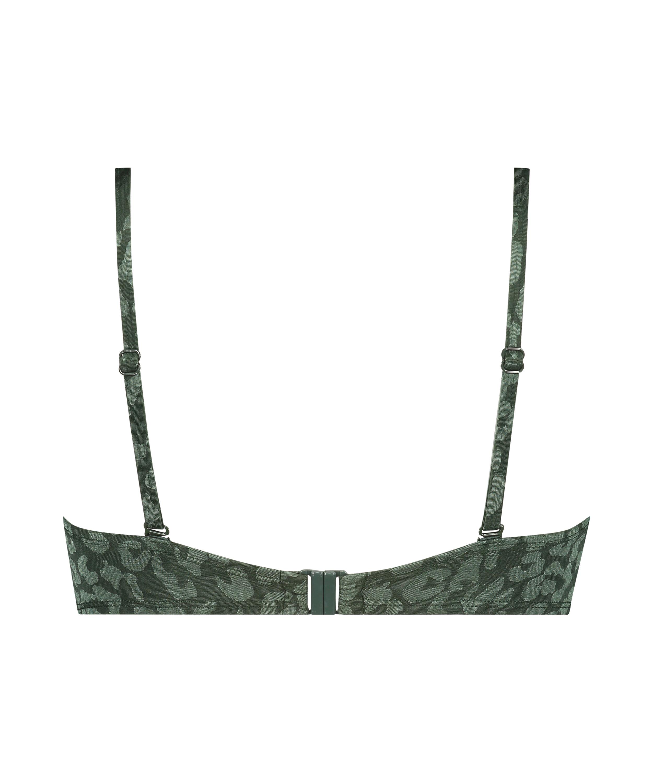 Tonal Leo padded underwired bikini top Cup E +, Green, main