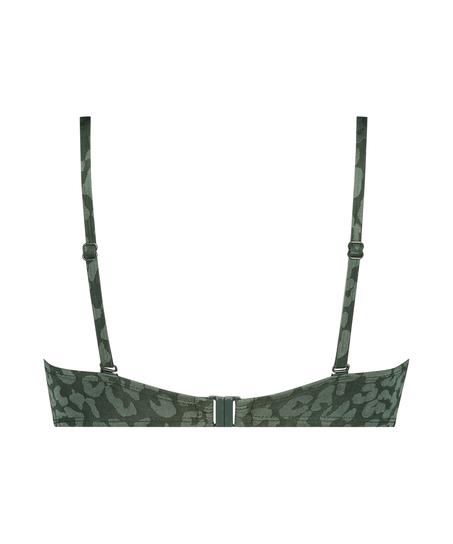 Tonal Leo padded underwired bikini top Cup E +, Green