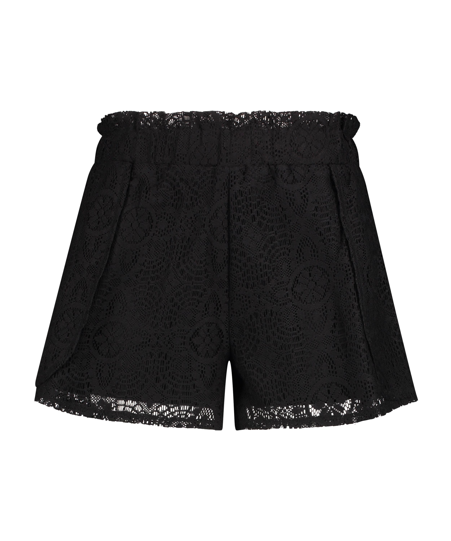 Lace shorts, Black, main