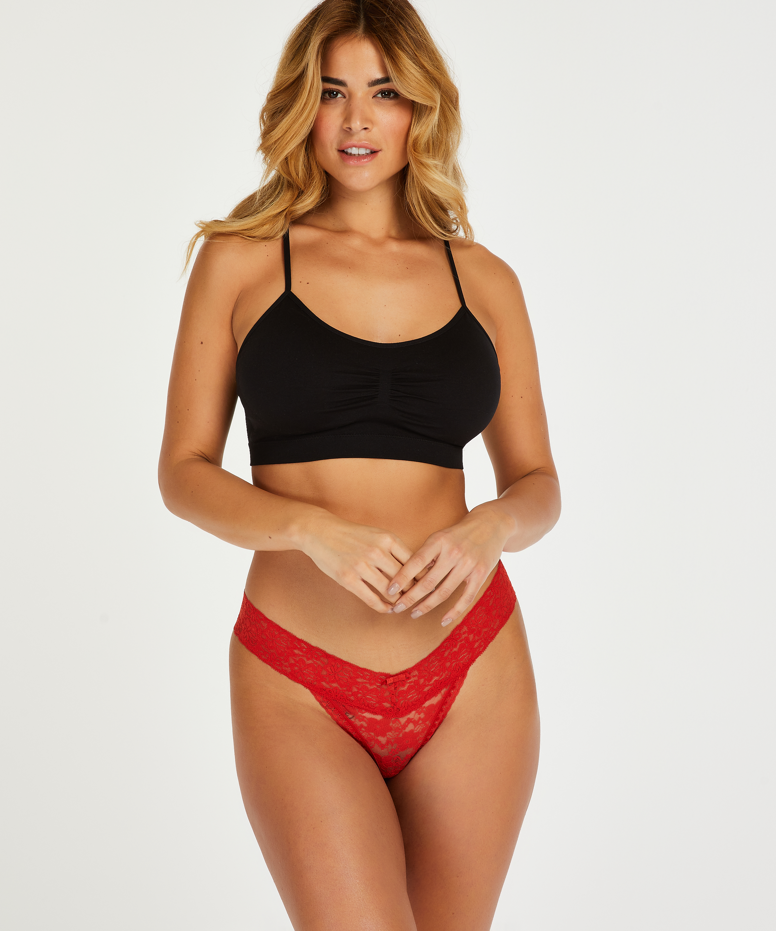 Floral Lace Thong, Red, main