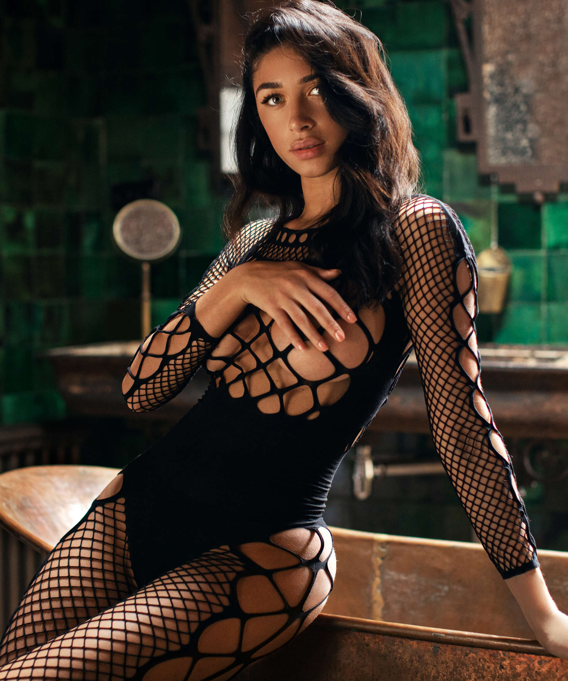 Private Chastity Fishnet Catsuit  , Black, main