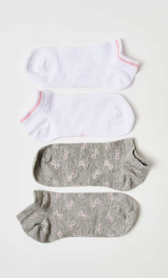 2-Pack Cotton Trainer Liners, Grey
