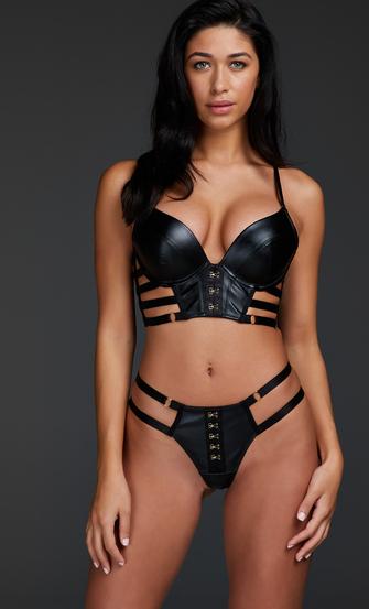 Vicky padded underwired push-up bra, Black