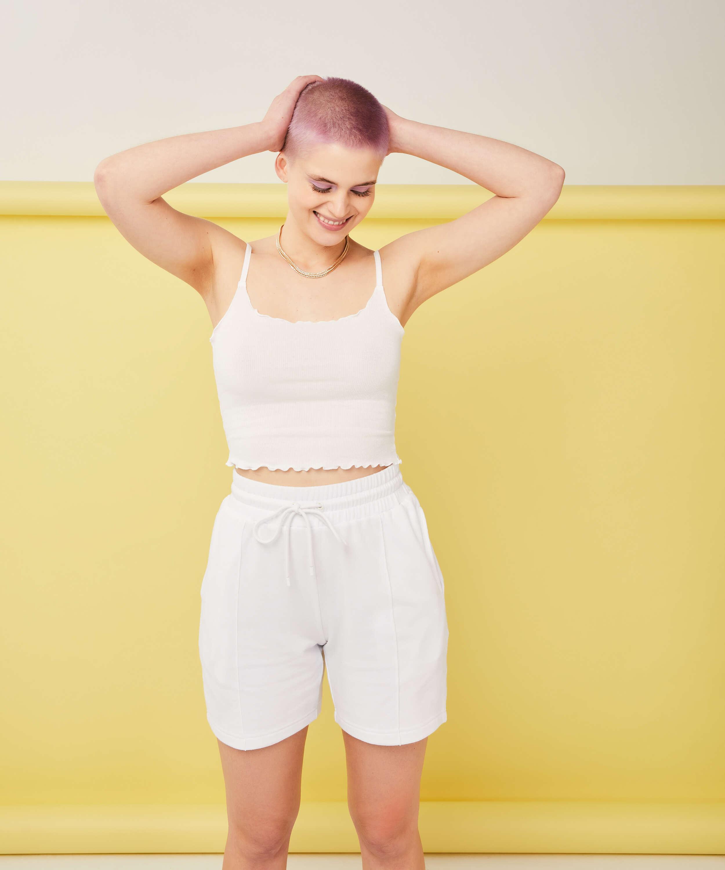 Snuggle Me Bermuda Shorts, White, main