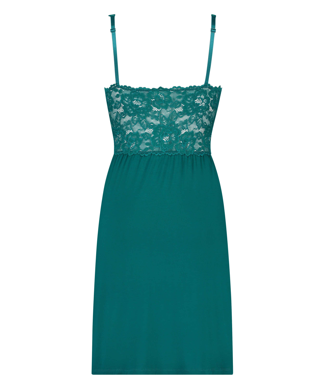 Modal Lace Slip Dress, Green, main