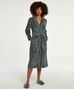 Long Fleece Bathrobe, Green