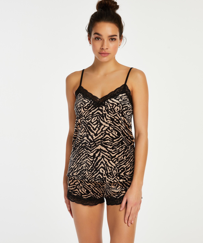 Zebra velvet cami top, Black, main