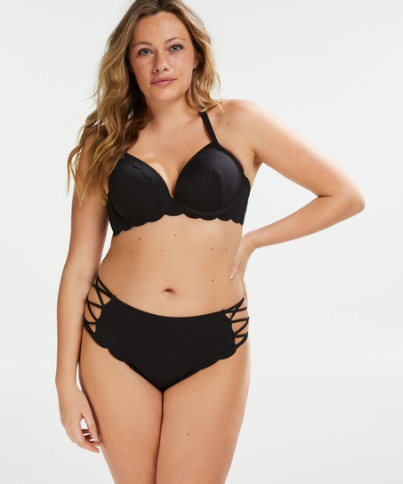 Scallop padded underwired bikini top Cup E +, Black