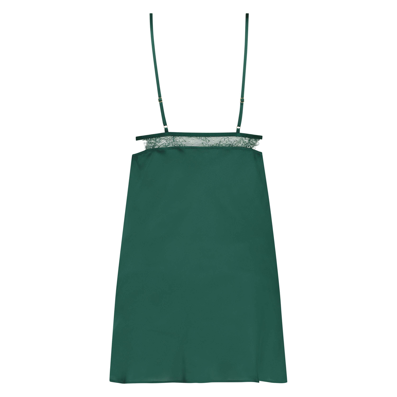 Satin Holly slip dress, Green, main