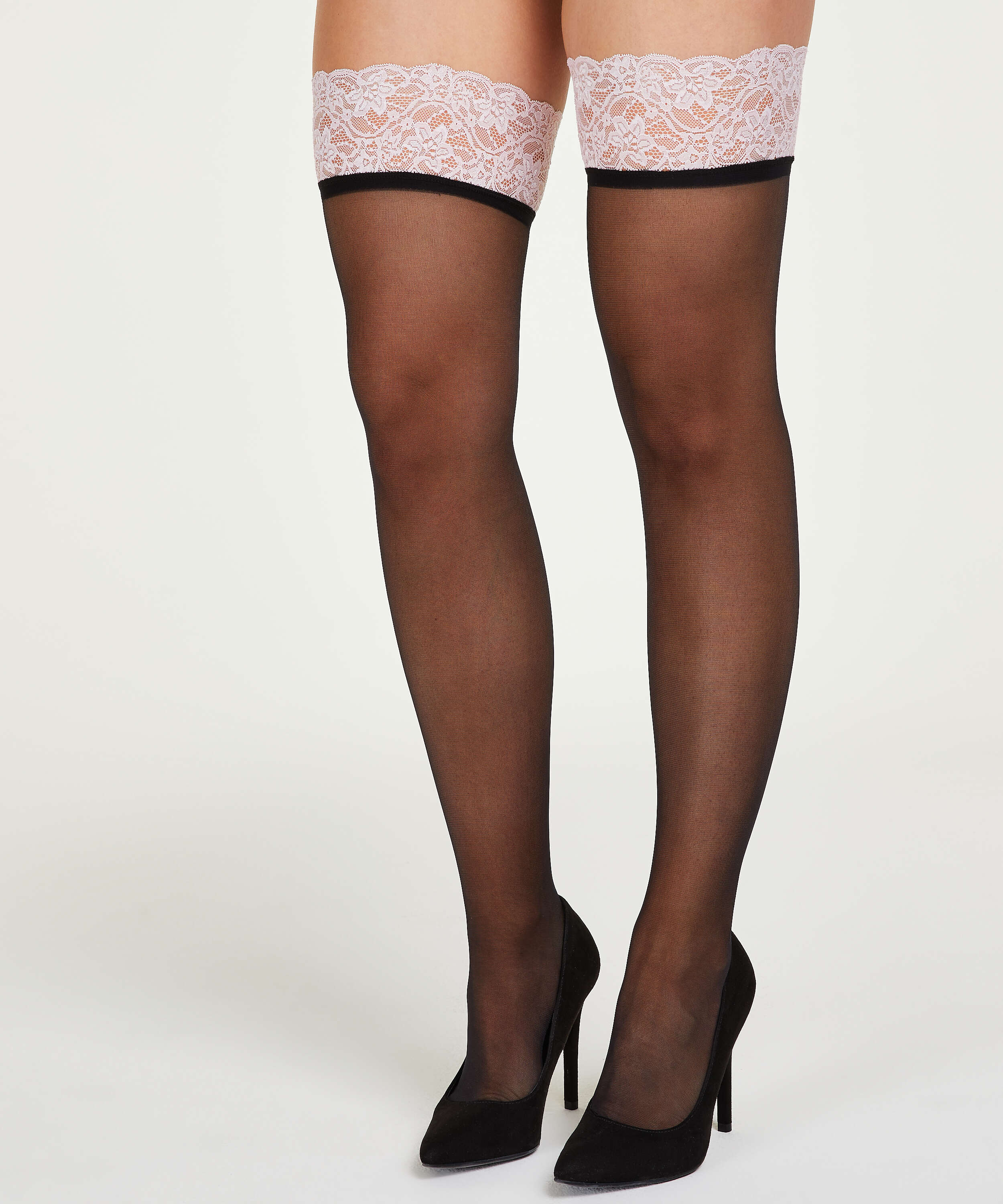 15 Denier Lace stay-up, Pink, main