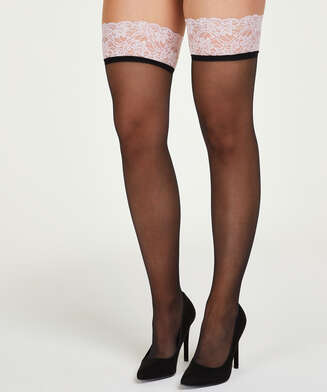 15 Denier Lace stay-up, Pink