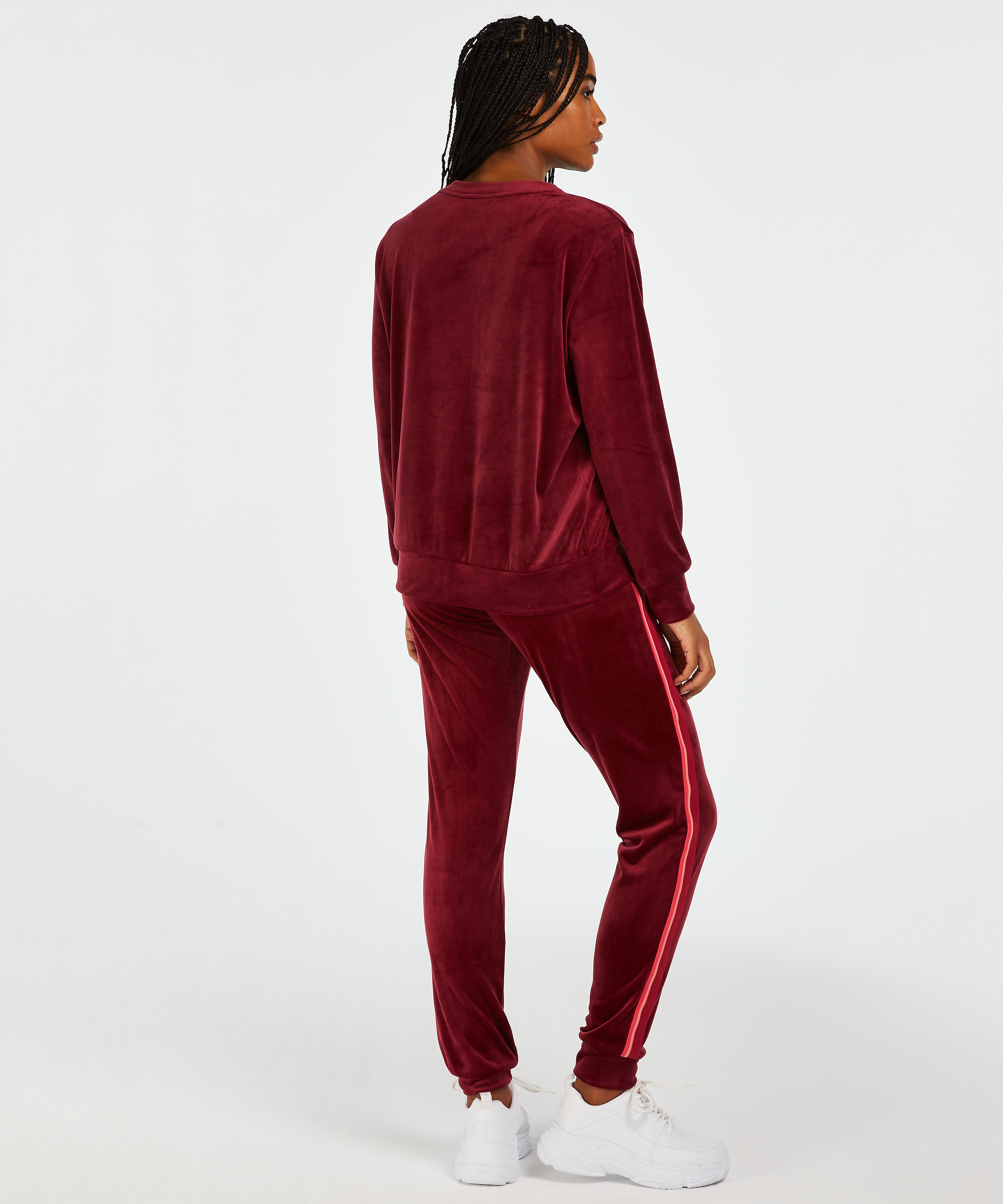 Long-sleeved Velours top, Red, main