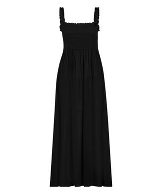 Smocked maxi dress, Black