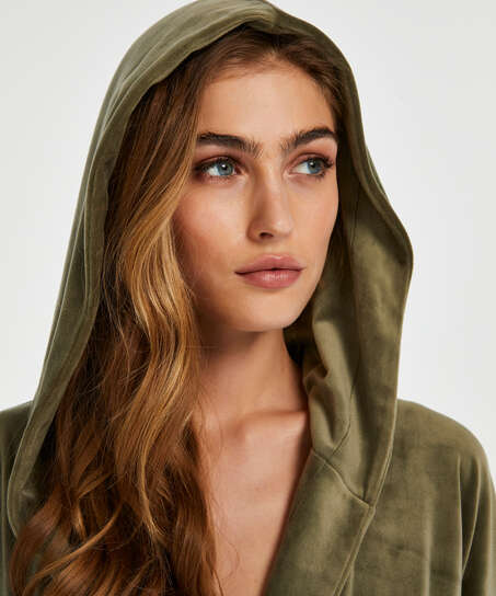 Velours short bathrobe, Green
