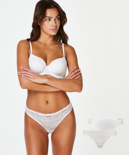 2-pack Angie Thongs, White