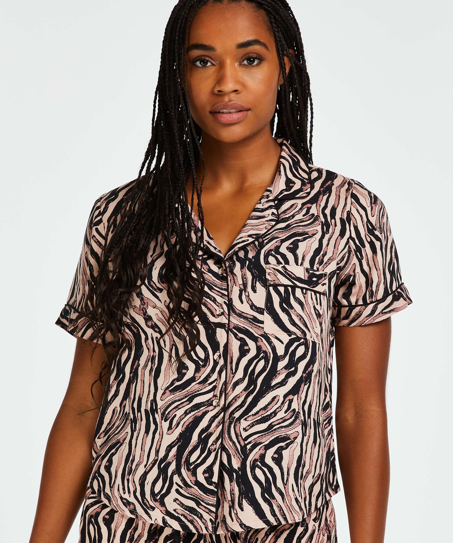 Zebra pyjama top, Beige, main