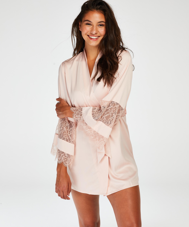 Satin Lace Kimono, Pink, main