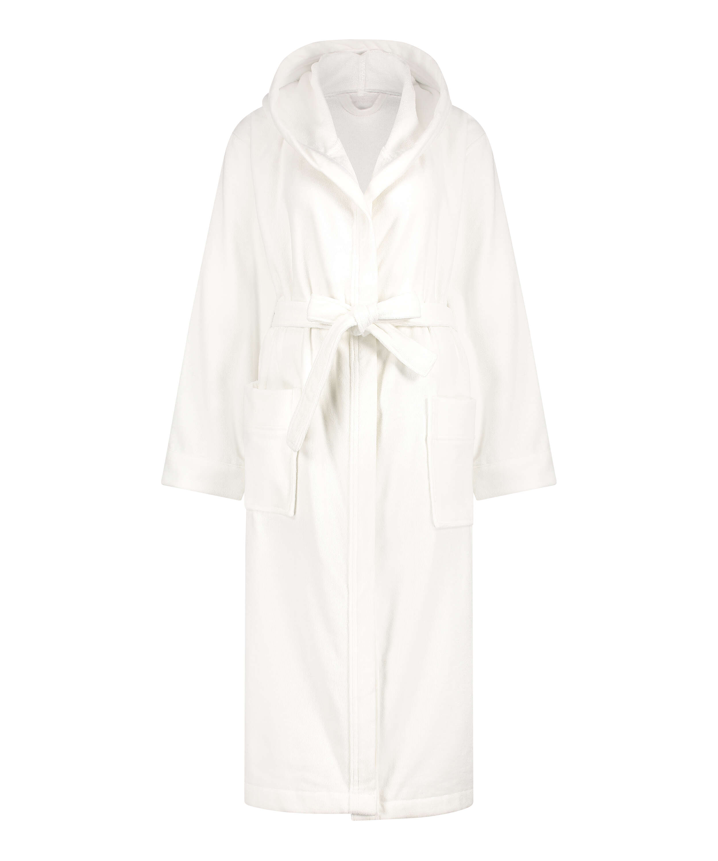 Long fleece bathrobe, White, main