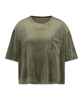 Top Velours Pocket, Green