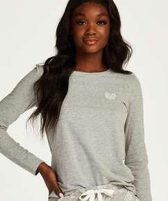 Jersey Hearts Long-Sleeve Pyjama Top., Grey