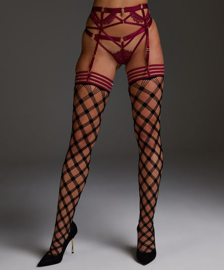 Private Fishnet hold-ups Crystal, Red