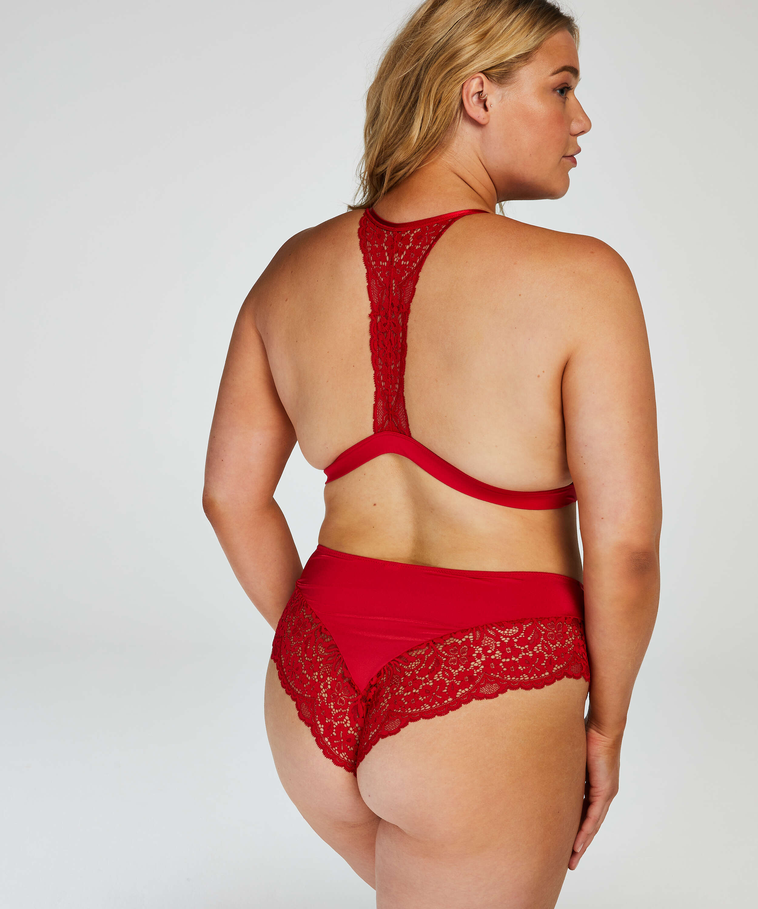 Rose Padded Triangle Bralette, Red, main
