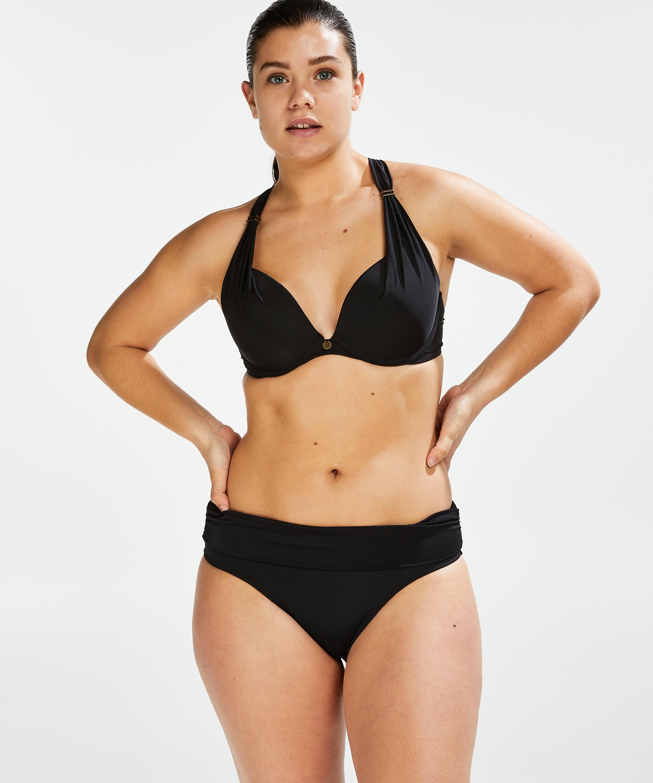 Sunset Dreams padded underwired bikini top Cup E +, Black, main