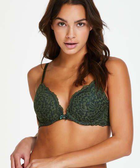 Rose padded push-up bra, Green