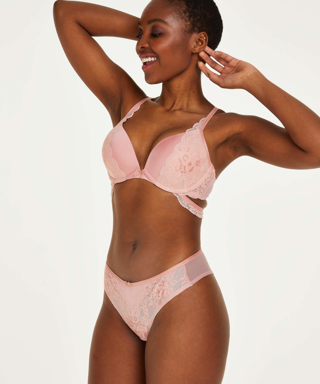 Aimee padded push-up underwired bra, Pink, main