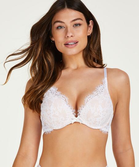 Leyla padded push-up underwired bra, White