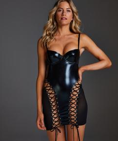 Mesh lace-up slip dress, Black
