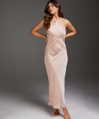 Long Satin Slip Dress, Beige