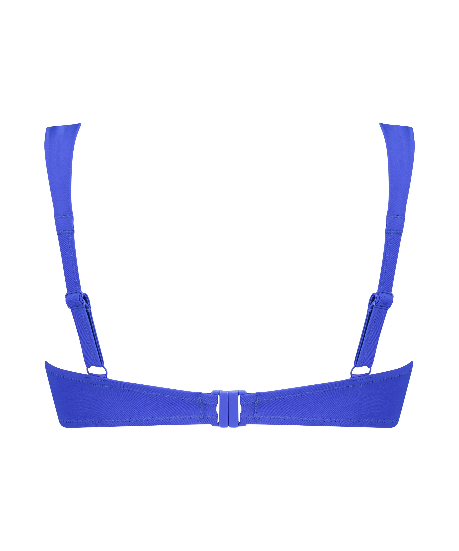 Padded underwired bikini top Luxe Cup E +, Blue, main
