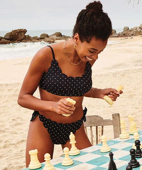 Scallop Goddess Brazilian bikini bottom, Black