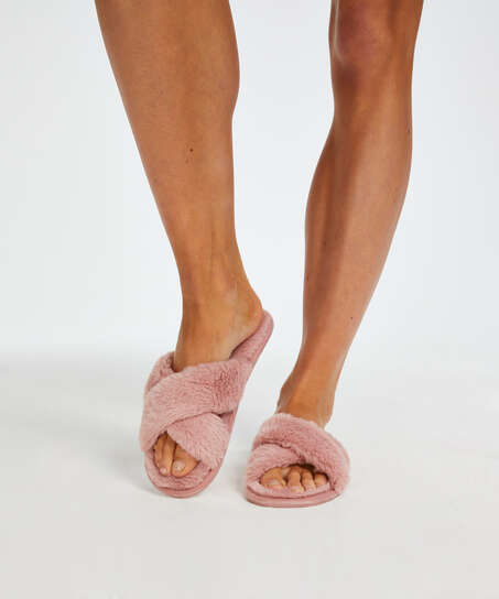 Velours slippers, Pink