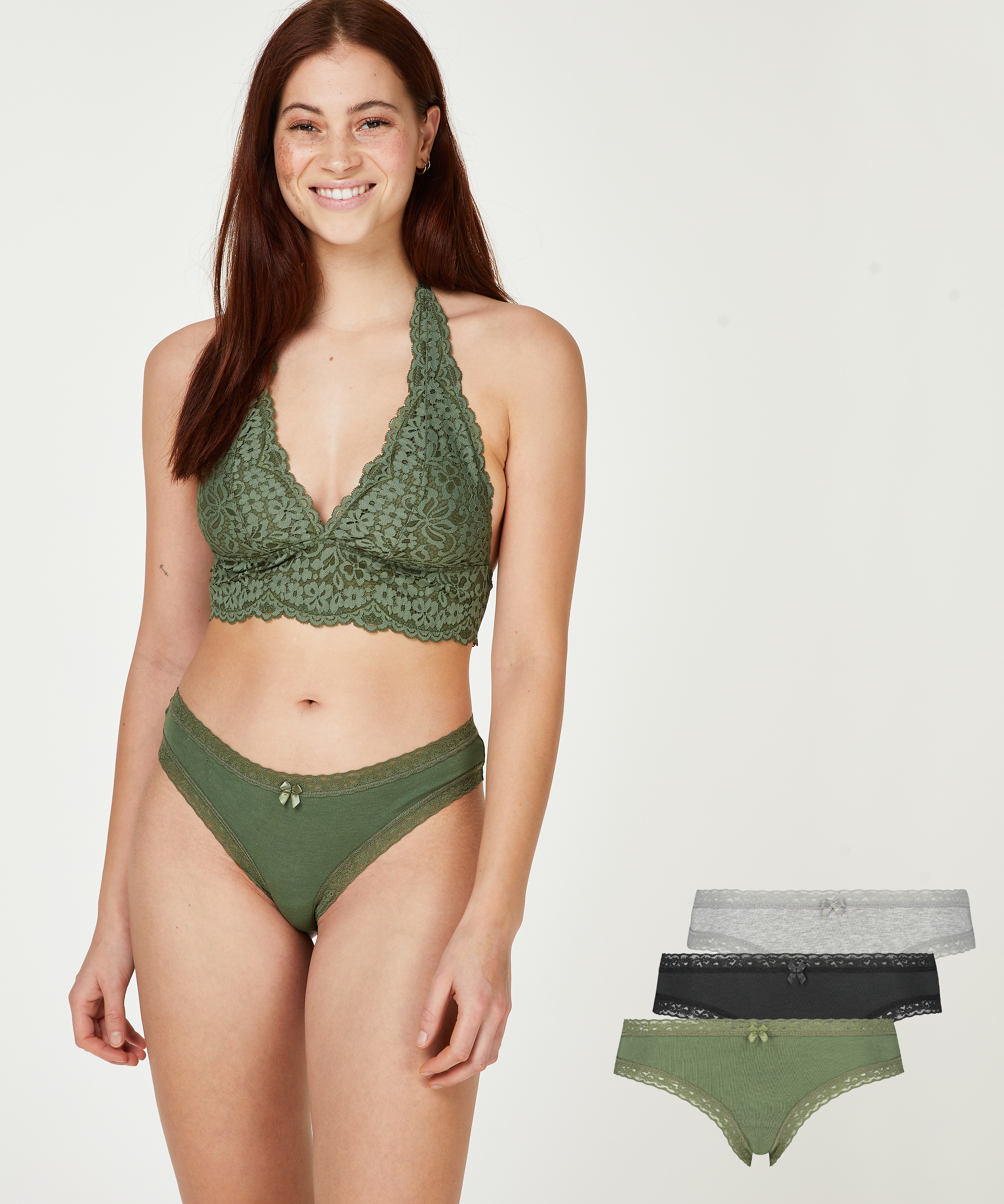 Free Spirit 3-pack of knickers, Green, main