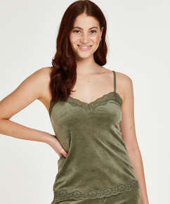 Velvet lace cami, Green