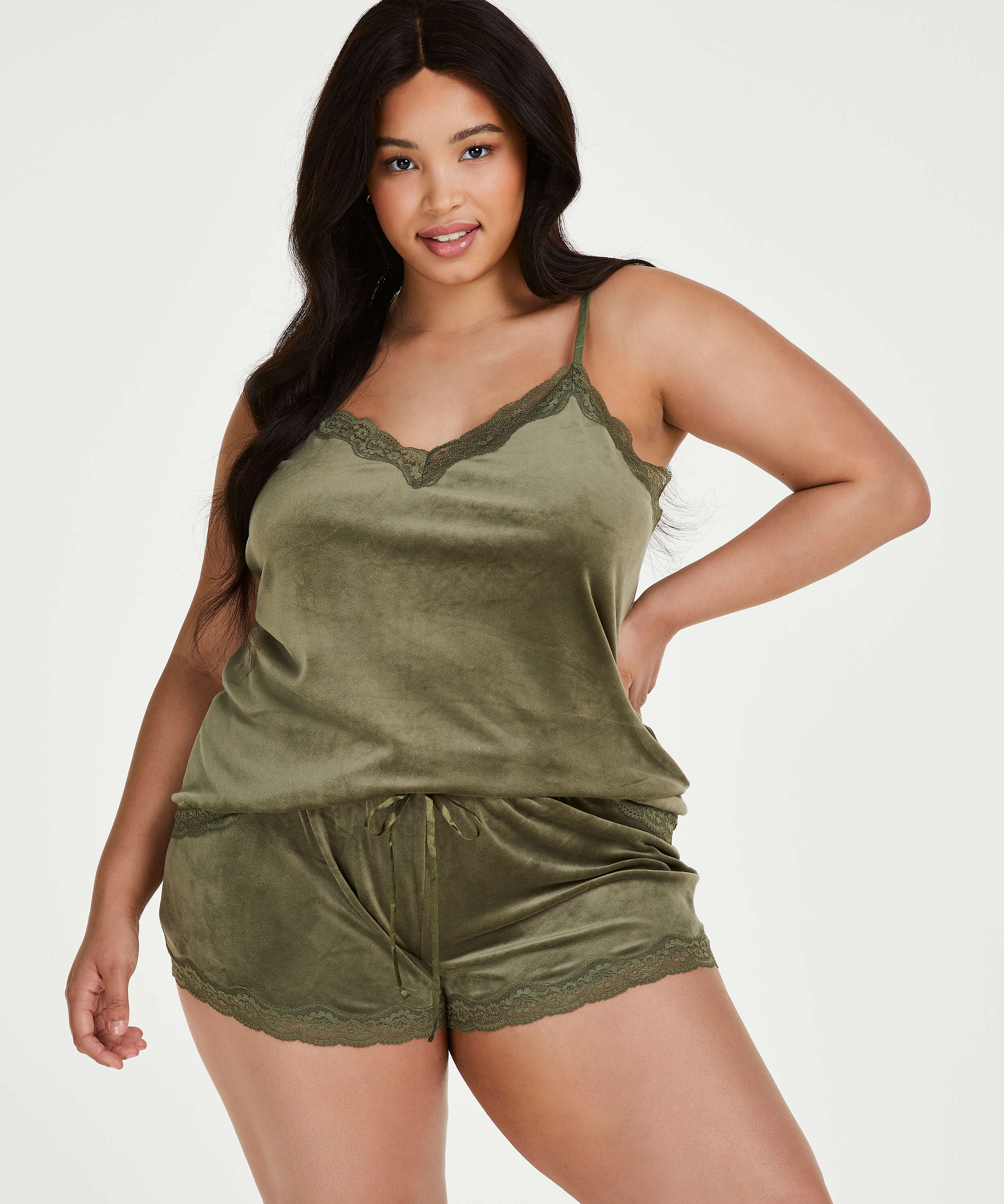 Velvet lace shorts, Green, main